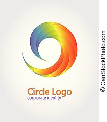 Spiral symbol in a rainbow color. Circle logo