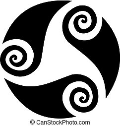 Spiral tattoo - Shapes of waves forming a spiral circular ...