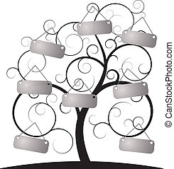 spiral, träd, med, etikett