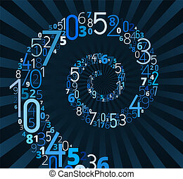 Spiral, vector font from numbers - Spiral, from different...