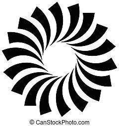 Spiral, vortex, swirl or twirl abstract monochrome graphic. Vector.