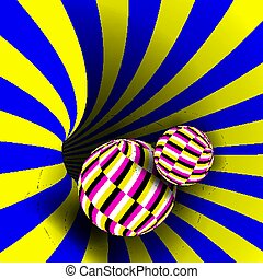 Spiral Vortex Vector. Illusion Vector. Optical Art. Psychedelic Swirl Illusion. Deception, Deceptive. Geometric Background Illustration