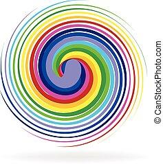 Spiral waves rainbow logo