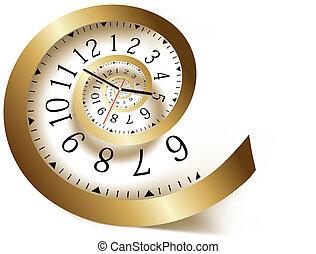 spiral., wektor, illustration., złoty, czas