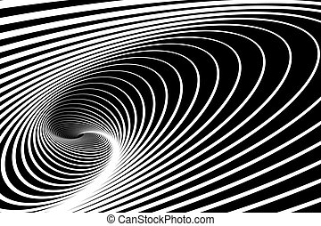 Spiral whirl movement. Abstract op art background. Vector...