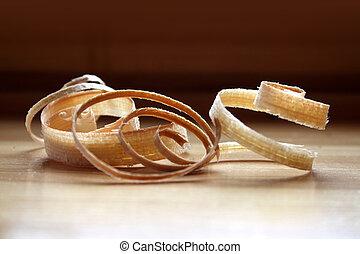 Spiral woodchips - Wood shavings from carpenter's workshop