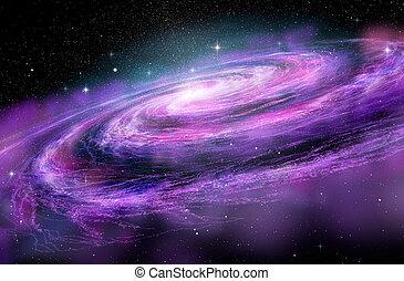 spirale, abbildung, spcae, tief, galaxie, 3d