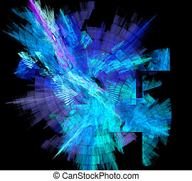 spirale bleue, illustration, fond, cercle, fractal, rayon