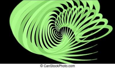 spirale, hélix, lignes, vert, lignes