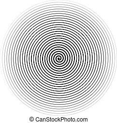 spirale, isolé, arrière-plan., vecteur, noir, blanc