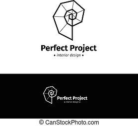 spirale, logotype, kreativ, vektor, schwarz, minimalistic, innenarchitektur, weißes, logo.