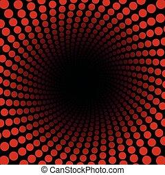 Spirale Pattern Red Dots Black Center