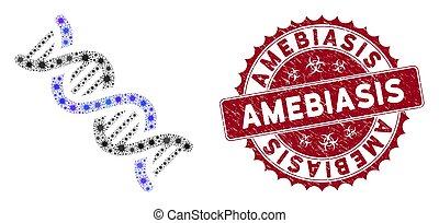 spirale, siegel, coronavirus, dns, textured, mosaik, ikone, amebiasis