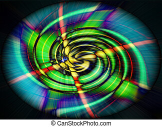 spirale, vague, vert