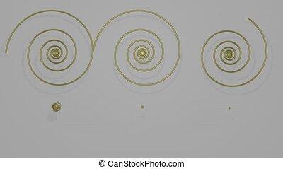 spirales, gris, laiton, ornement, gradually, composé, film,...