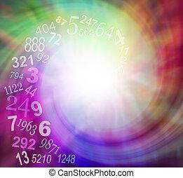 spiraling, números, energia