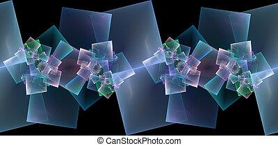 spiraling squares fractal seamless border on black ...