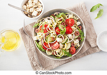 spiralized, courgette, salada, grego, estilo, com, tomate,...