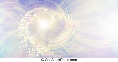 pale lilac and lemon metaphysical spiral pattern with a spiralling flow of random numbers entering the vortex and copy space on right hand side