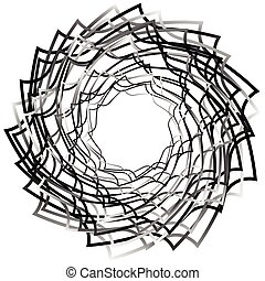 Spirally abstract geometric element - Artistic monochrome illustration