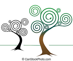 Two spirally abstract tree designs: One colorful, springtime tree, one tree design in black