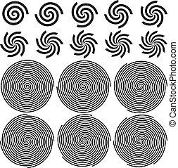 Spirals Pattern Set. Vector Illustration