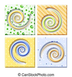 spirals - Rasterized vector drawing of four diffent spirals