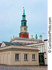 Spire of Old Town Hall on Market Square in Poznan