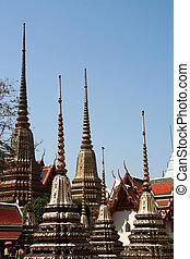 Spires at wat Pho Bangkok Thailand