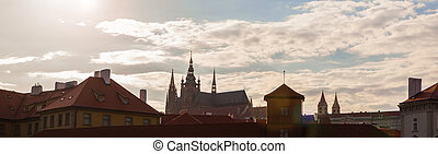 spires of the old town and tyn church at sunrise