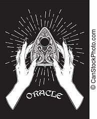 Hand drawn spirit board oracle planchette in female hands isolated. Bloho style sticker, poster, blackwork tattoo or print design vector illustration