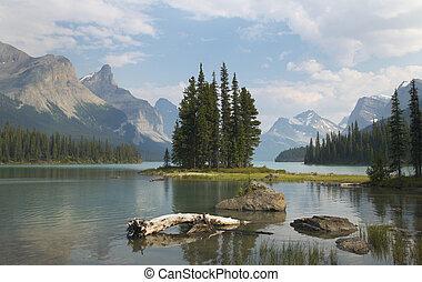 Spirit island in Maligne Lake. Jasper. Canada landscape