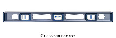 Spirit level, isolated - Spirit level in blue metal with ...