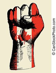 Spirit Of A Nation - Sketch illustration of a fist with...