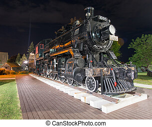 An old locomotive on September 7, 2012 in Kingston. The locomotive, called Spirit of Sir John A., was in active service until 1960 and later became a landmark.