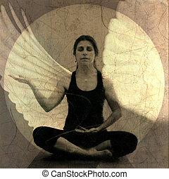 Spirit Open - Woman in receptive yoga mudra meditiation pose...