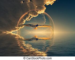 spirit - a bird inside  a bubble flying over the sea