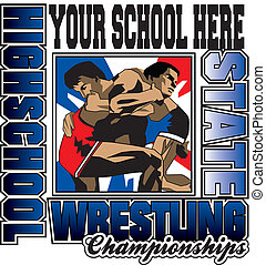 This is a pretty nice design, high school wrestling, laid out ready for your school name.. spot colors ready to seperate and print