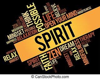 Spirit word cloud collage, concept background