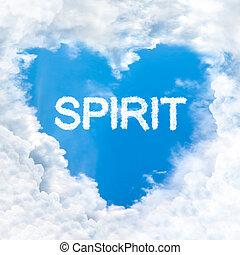 spirit word inside love cloud heart shape blue sky background only