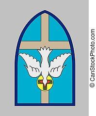 spirito, colomba, croce, santo, chiesa