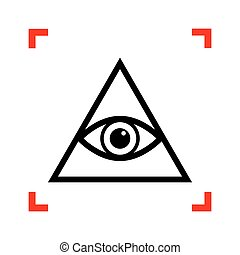 spiritual., 見る, すべて, ピラミッド, シンボル。, 黒, freemason, ic, 目