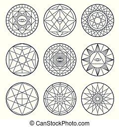 Spiritual alchemy vector symbols. Medieval geometry sacred vector logos
