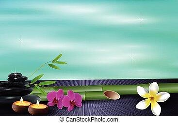 Spiritual background - Illustration of Stone, wax, flowers,...