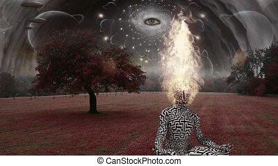 Spiritual composition. Burning head man meditates in lotus pose in surreal landscape