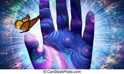 Butterfly on Hand of God - Spiritual digital art. Butterfly ...