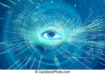 An abstract spiritual background showing a spiritual eye radiating sparks.