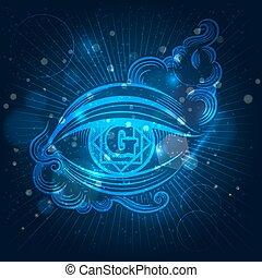 Spiritual eye on shining background