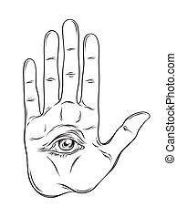 Spiritual hand with the allseeing eye on the palm. Occult...