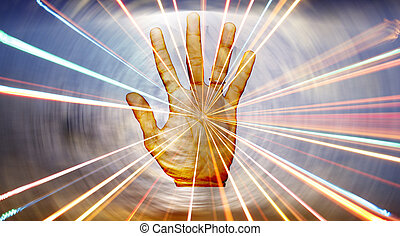 A metaphorical background showing energies radiating from the hand of a spiritual healer.